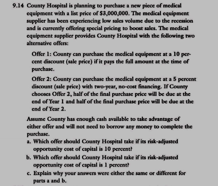 Solved: County Hospital Is Planning To Purchase A New Piec