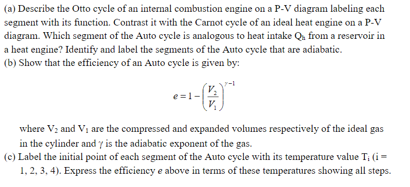 (a) describe the otto cycle of an internal combustion engine on a p-v  diagram