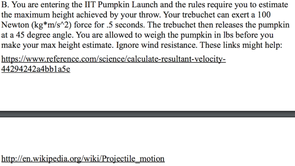Trebuchet Calculator Program In Java
