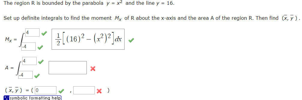 Solved Need Integral For The Area And Y Bar Answer Chegg