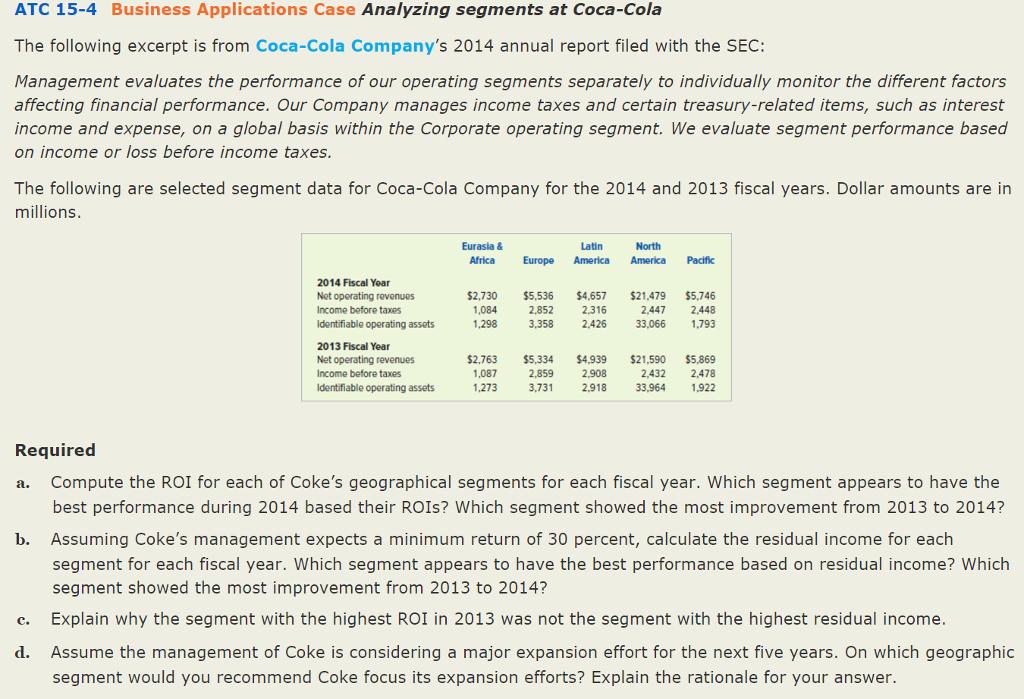 performance management of coca cola