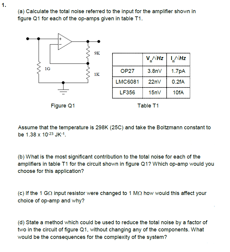 Solved: A) Calculate The Total Noise Referred To The Input