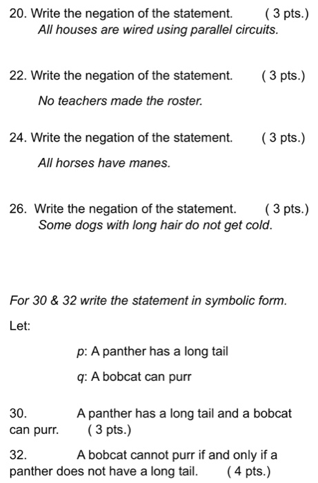 Solved: Write The Negation Of The Statement. All Houses Ar ...