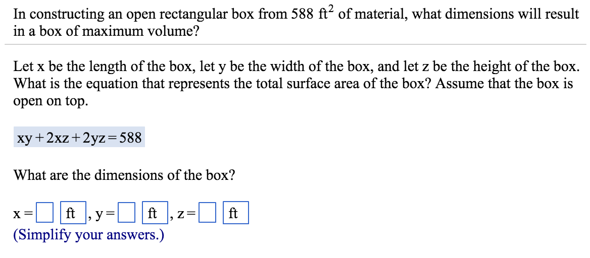 Solved In Constructing An Open Rectangular Box From 588 F