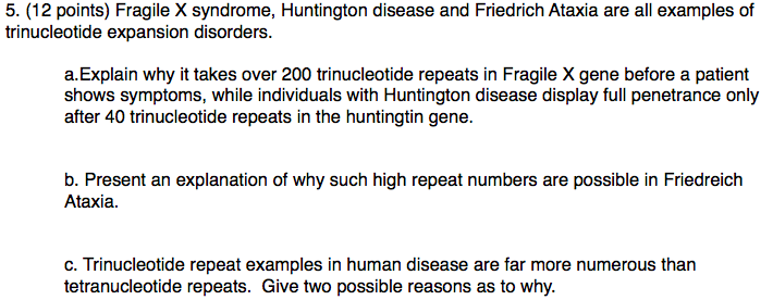 Solved 5 12 Points Fragile X Syndrome Huntington Dise