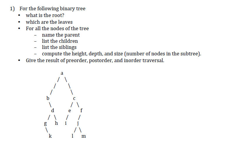 Solved: 1) For The Following Binary Tree What Is The Root