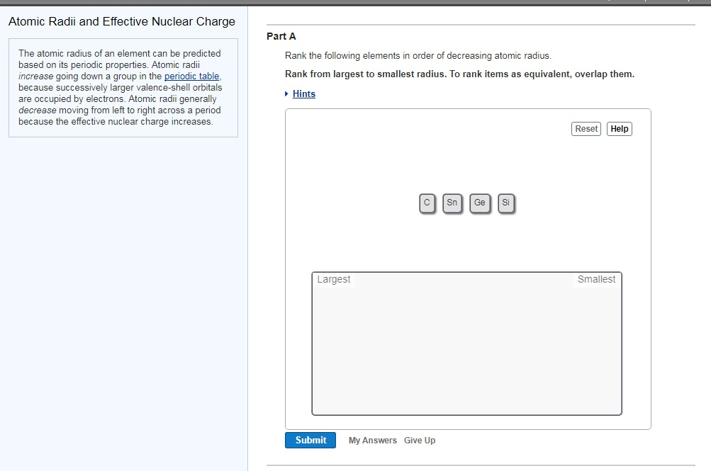 atomic radii and effective nuclear charge part a the atomic radius of an element can be