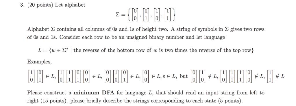 Solved Let Alphabet Sigma 0 0 0 1 1 0 1 1