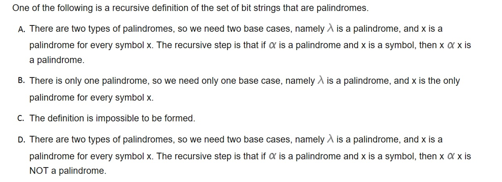 Solved One Of The Following Is A Recursive Definition Of