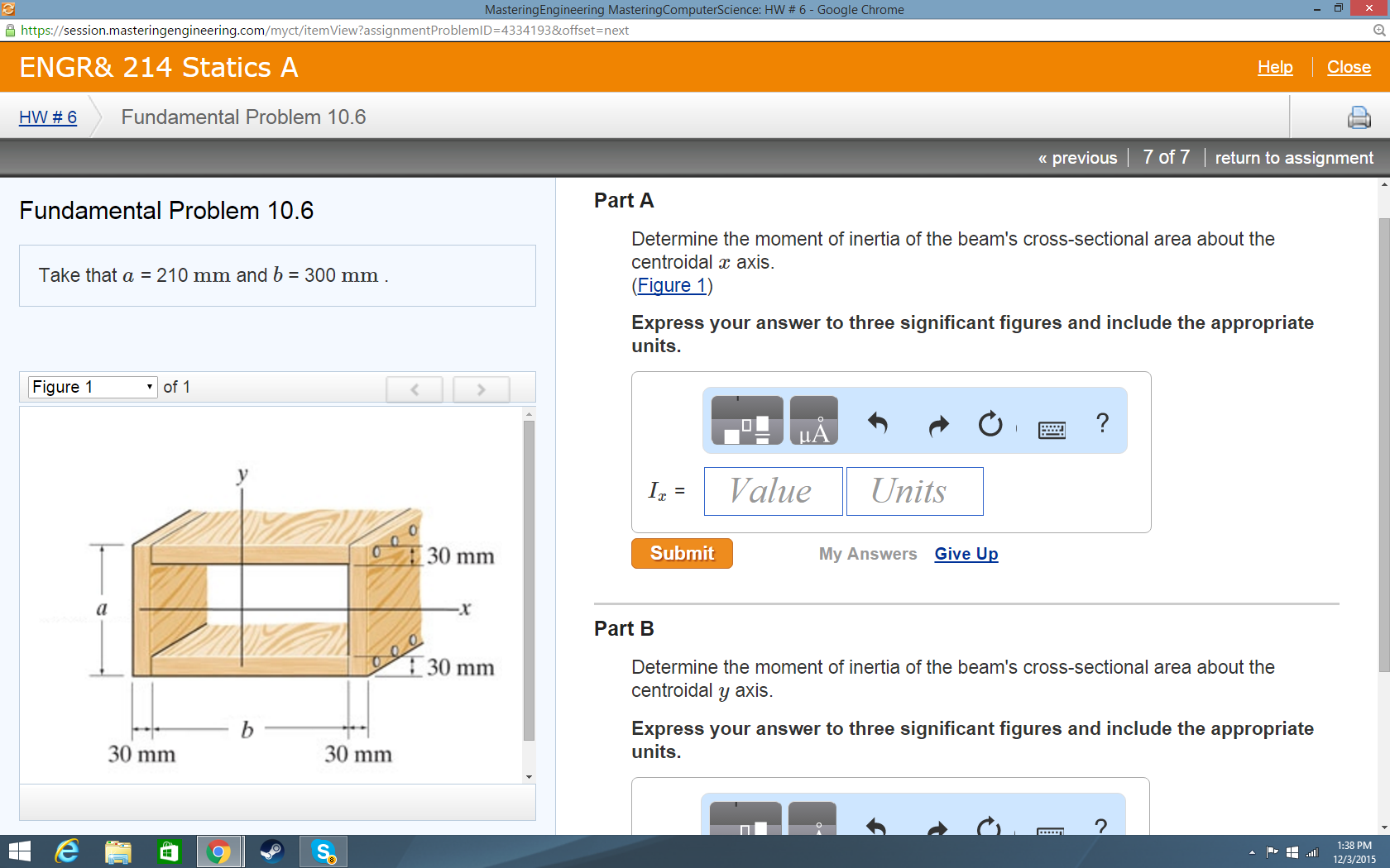 Solved: Part A) Determine The Moment Of Inertia Of The Bea