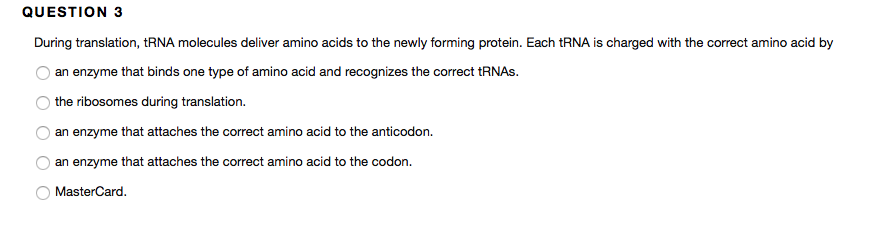 Solved: During Translation, TRNA Molecules Deliver Amino A