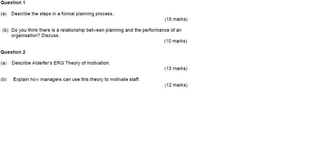 formal planning process