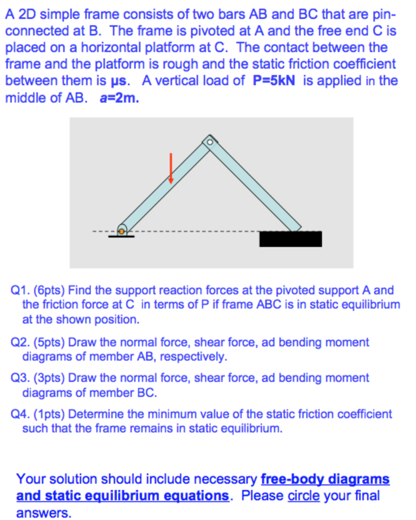 Civil engineering archive august 15 2017 chegg a 2d simple frame consists of two bars ab and bc that are pin connected pooptronica Choice Image