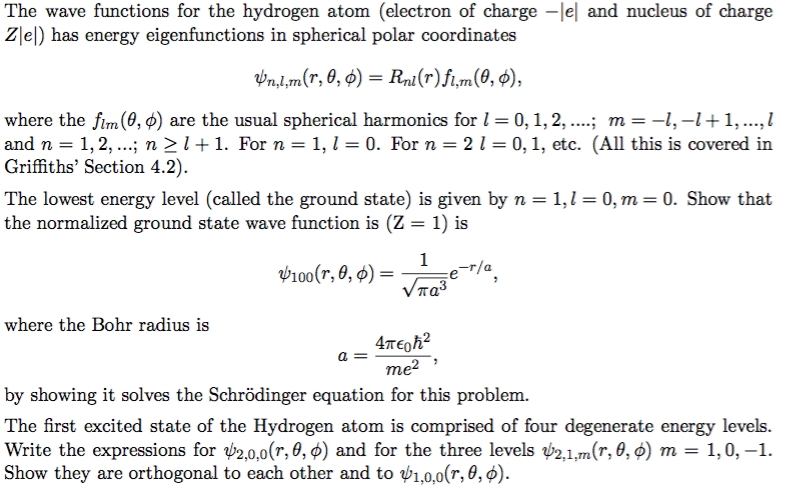 Solved: The Wave Functions For The Hydrogen Atom (electron