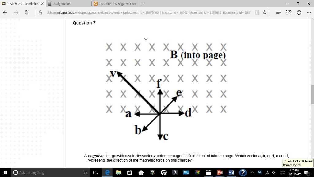 Solved a negative charge with a velocity vector v enters gb review test submission x assignments c question 7 a negative char k o missouri ccuart Images