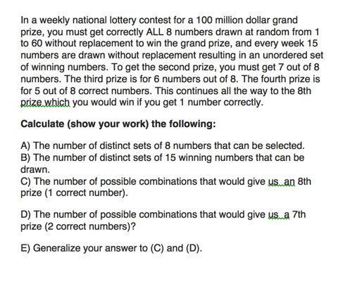 In A Weekly National Lottery Contest For A 100 Mil    | Chegg com