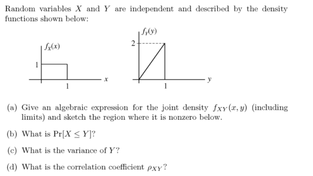 Solved random variables x and y are independent and descr question random variables x and y are independent and described by the density functions shown below giv ccuart Gallery