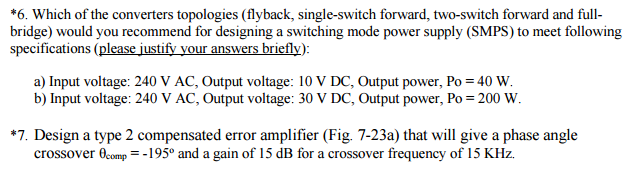 Solved: *6. Which Of The Converters Topologies (flyback, S ...