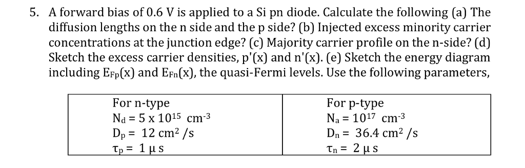 5. A forward bias of 0.6 V is applied to a Si pn diode. Calculate the following (a) The diffusion lengths on the n side and the p side? (b) Injected excess minority carrier concentrations at the junction edge? (c) Majority carrier profile on the n-side? (d) Sketch the excess carrier densities, p(x) and n(x). (e) Sketch the energy diagram including EFp(x) and Efn(x), the quasi-Fermi levels. Use the following parameters, For n-type Na = 5 x 1015 cm-3 De = 12 cm2 /s For p-type Na= 1017 cm-3 Dn 36.4 cm2 /s