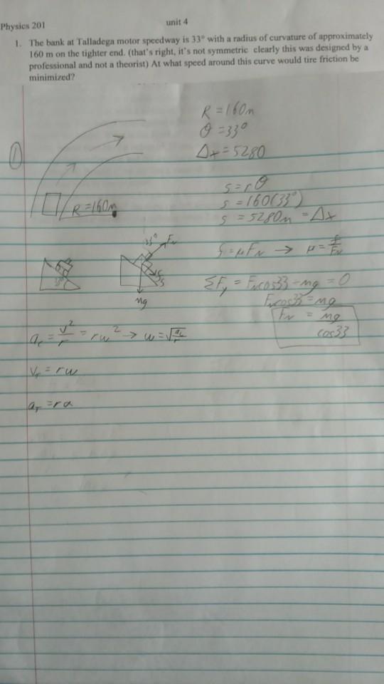 Solved: Physics 201 Unit 4 The Bank At Talladega Motor Spe