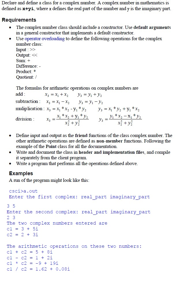 Solved Declare And Define A Class For A Complex Number A