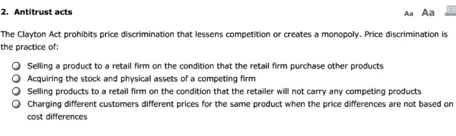 Solved: Aa Aa E 2. Antitrust Acts The Clayton Act Prohibit ...
