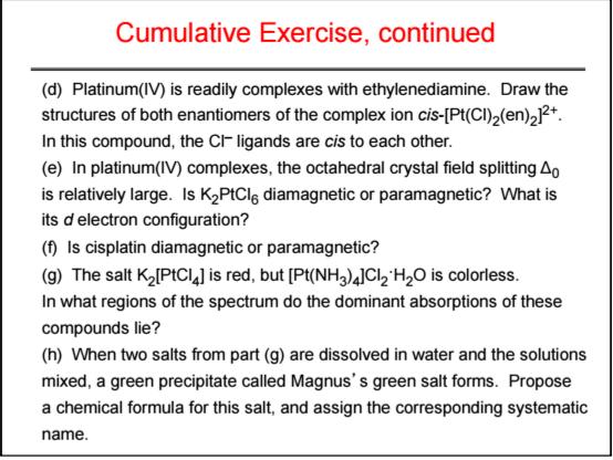 Solved: Cumulative Exercise (a) The Anticancer Drug Cispla