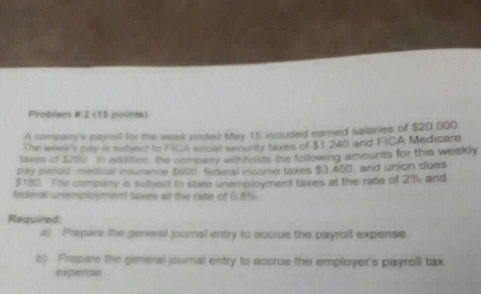 Problem points company payroll for the wmek