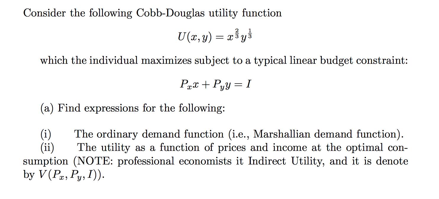 cobb douglas utility function pdf