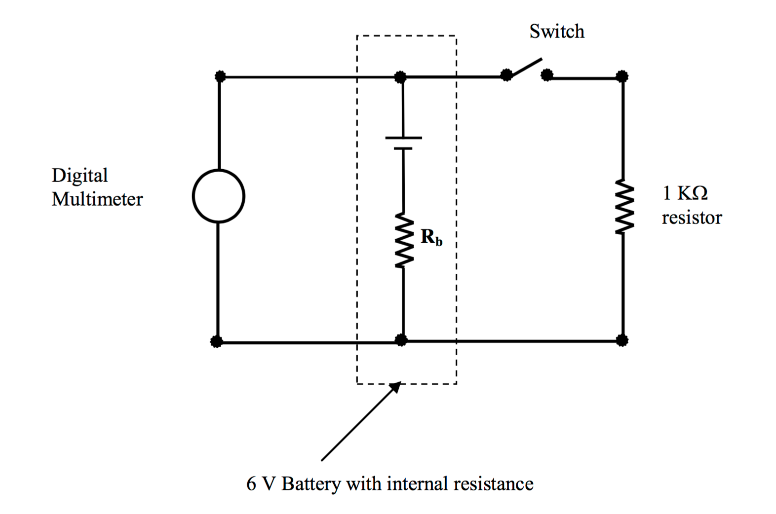 Solved In The Circuit Above 6 Volt Battery Is Shown Parallel Resistance Switch Digital Multimeter Resistor Rb V With Internal