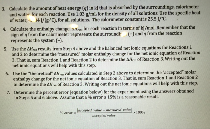 Solved: Enthalpy Of Chemical Reactions I Need Help With Fi