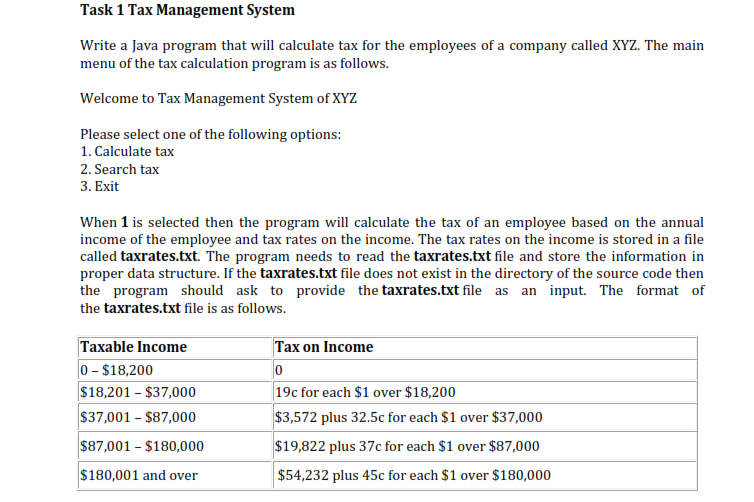 Solved: Task 1 Tax Management System Write A Java Program