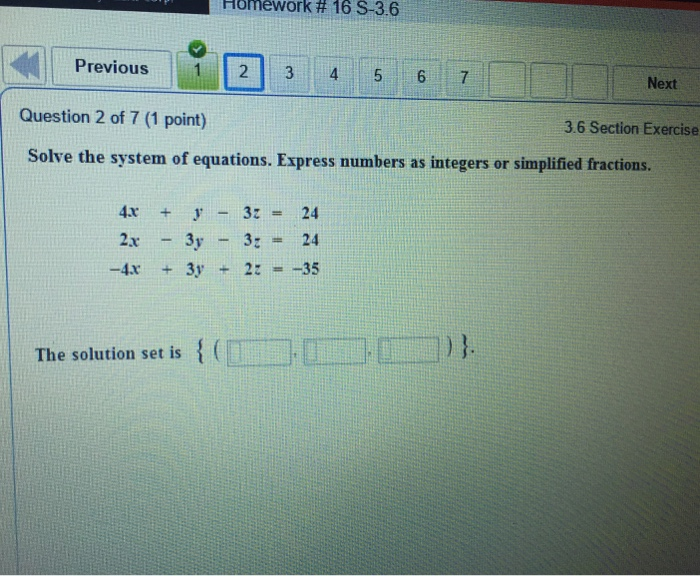 Solved: Solve The System Of Equations. Express Numbers As ...