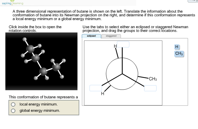 Solved A Three Dimensional Representation Of Butane Is Sh