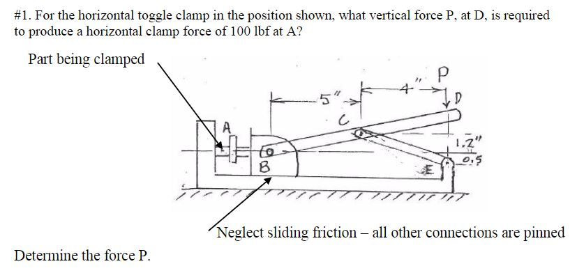 Solved: For The Horizontal Toggle Clamp In The Position Sh