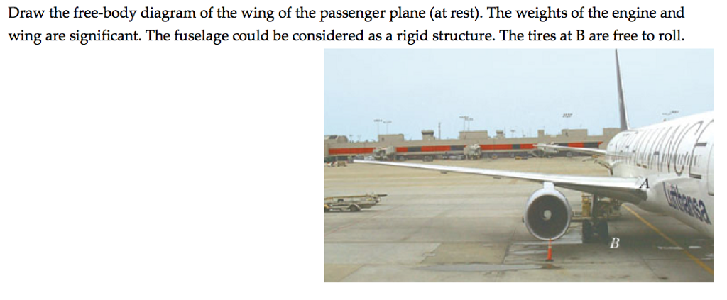 draw the free-body diagram of the wing of the passenger plane (at rest