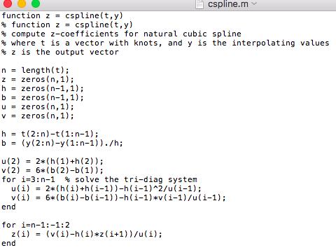 Solved: Problem 4: Natural Cubic Spline In Matlab The Goal