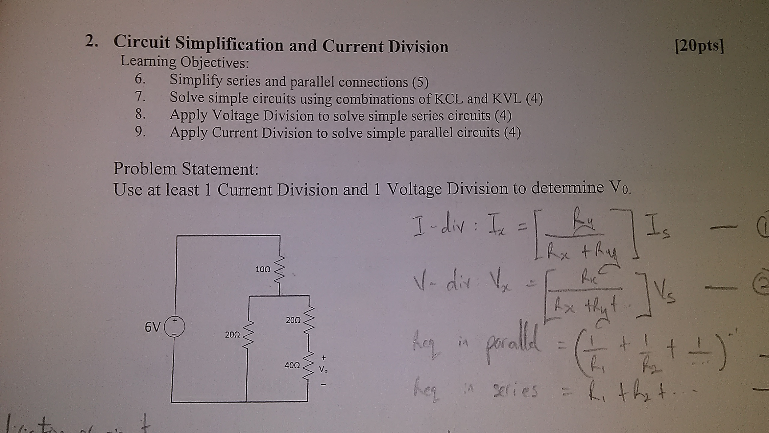 Solved Learning Objectives Simplify Series And Parallel Simple Circuit Diagram
