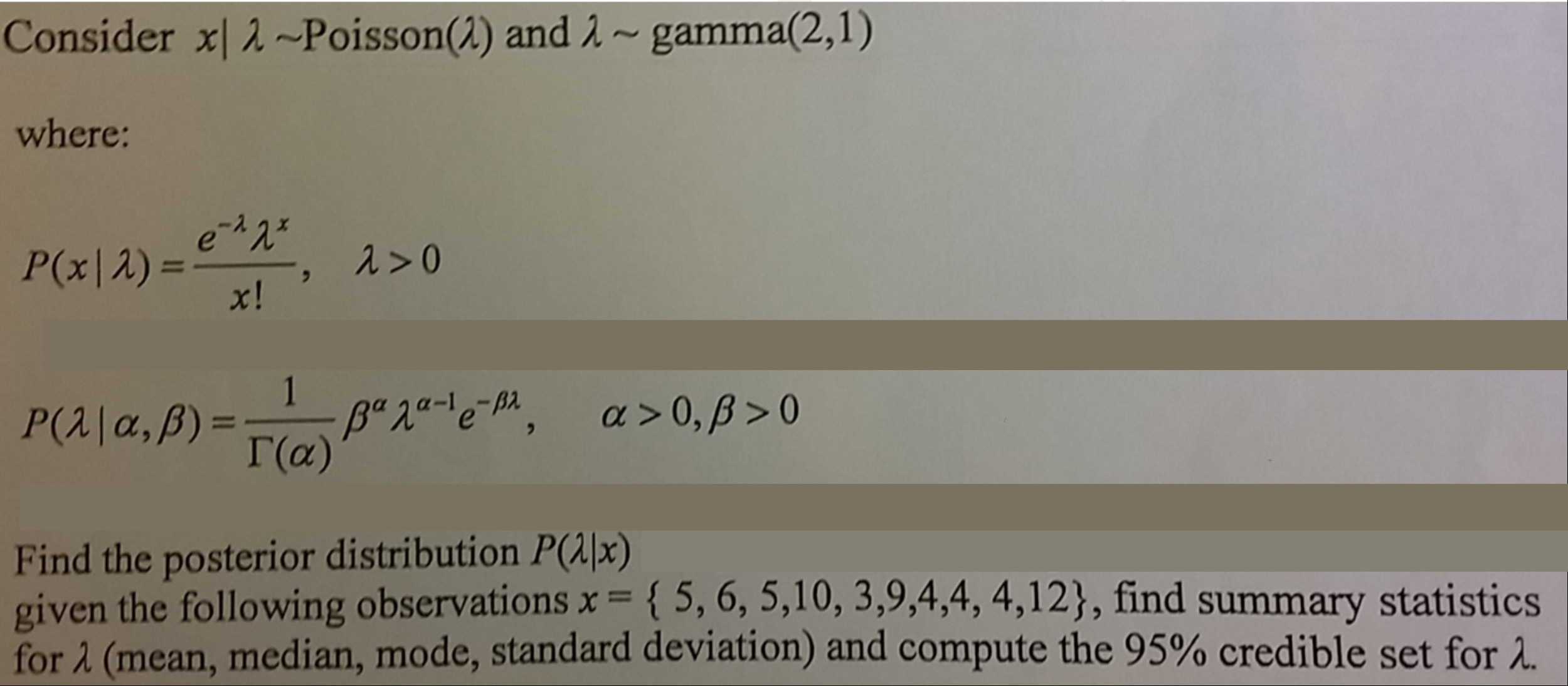 gamma distribution homework
