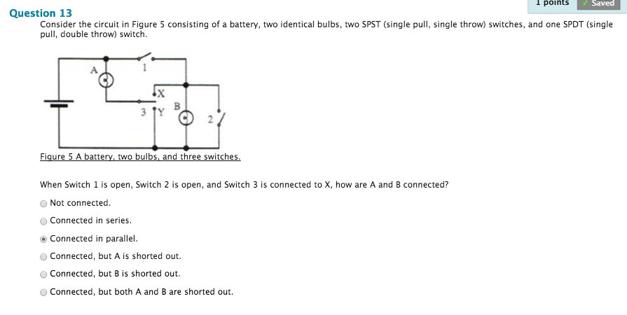 1 points saved question 13 consider the circuit in figure 5 consisting of a  battery,