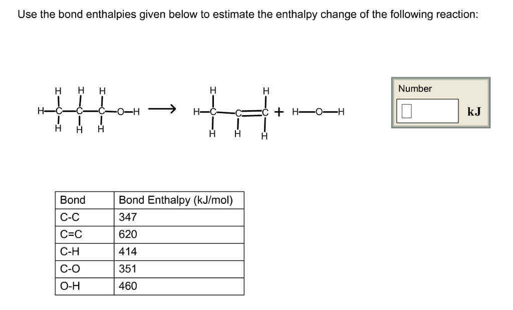 Solved: Use The Bond Enthalpies Given Below To Estimate Th ...