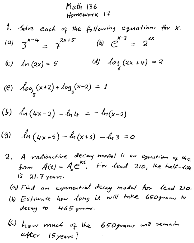 Solved: Math 136 HomeworK I7 · /Solve Each Q The Following ...