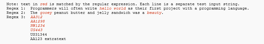 In Python Please Write Regular Expressions That Do