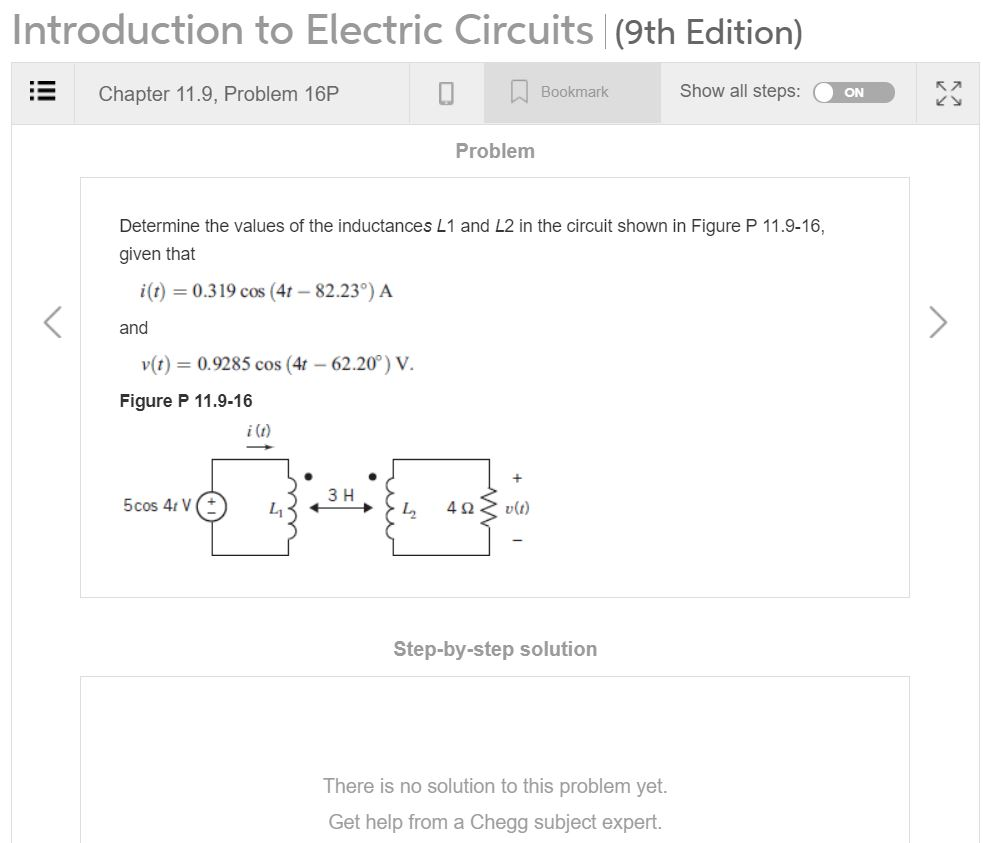 solved introduction to electric circuits (9th edition) chintroduction to electric circuits (9th edition) chapter 11 9, problem 16p 口bookmark show