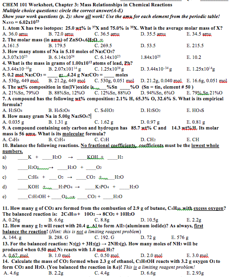 Solved: CHEM 101 Worksheet, Chapter 3: Mass Relationships ...