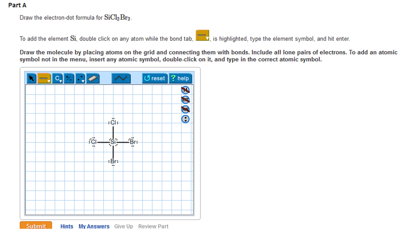 Solved Draw The Electron Dot Formula For Sicl2br2 This I