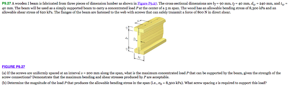 Solved P927 A Wooden I Beam Is Fabricated From Three Pie