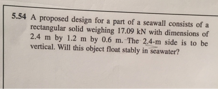 Solved: A Proposed Design For A Part Of A Seawall Consists