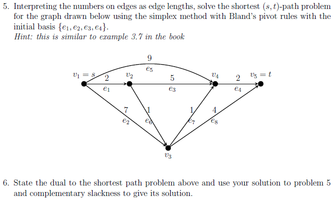 Solved: 5  Interpreting The Numbers On Edges As Edge Lengt
