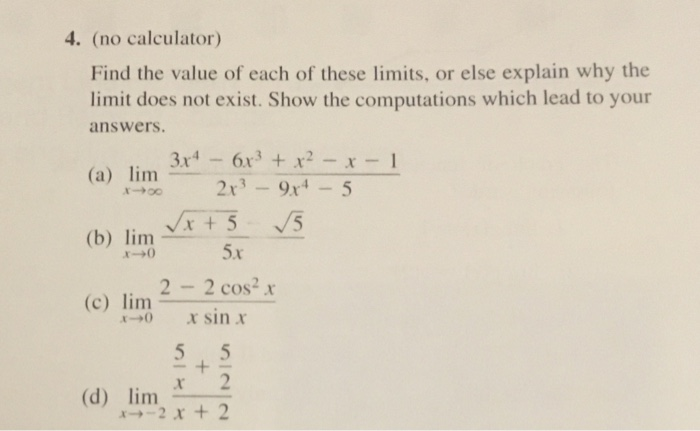 Ap ab no calculator,finding limits without l'hopital's rule,math.